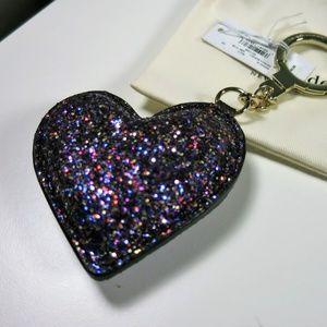 Kate Spade Glitter Heart Key Chain Purse Charm NWT